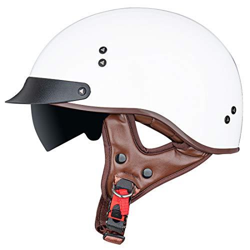 VCOROS Motorcycle Half Helmet Sun Visor Quick Release Buckle DOT Approved Half Face Cycling Helmets for Men Women for Bike Cruiser Chopper Moped Scooter ATV (White, L)
