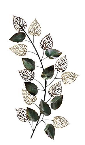 DARO DEKO Metall Wand-Bild AST mit Blättern 92 x 45cm