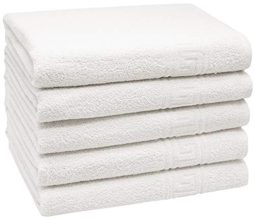 ZOLLNER Set 5 Toallas de baño, Blancas, 70x140 cm, 80% algodón