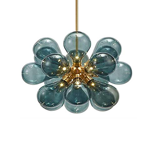Lámpara de araña nórdica de bola de cristal de mediados de siglo, luces creativas y modernas Sputnik, lámpara colgante semiflush G9, lámpara de techo para sala de estar, cubierta dorada y azul, 18 cab