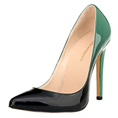 Brand:Loslandifen(a registered trademark brand owner) Main Material:Patent PU Leather /Manmade Sole Material Unique Design of Double Color Patent PU Leather Pointy Toe Slip On Stiletto High Heel Pumps Women Shoes Heel Height: 11cm (4.9 Inches)