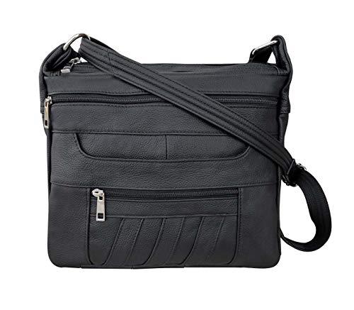 Black Leather Concealed Carry Handbag Roma 7082