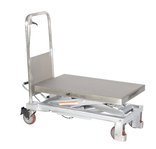 Vestil CART-1000-PSS Partially Stainless Steel Hydraulic Elevating Cart, 1,000 lb. Capacity, 32-1/2