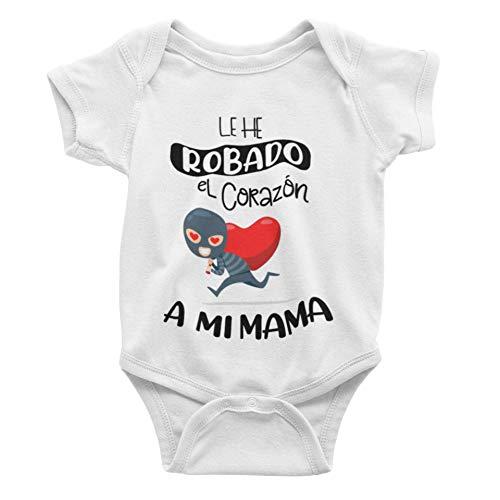 SAQUITOMAGICO Body bebe algodón divertidos para papas y mamas. Bodys con frases graciosas (corazon mama, 0-3 meses)