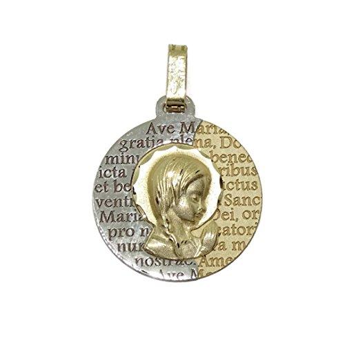 Never Say Never Medalla de comunión Virgen niña Bicolor Oro de 18k con oración del Ave María. 16mm