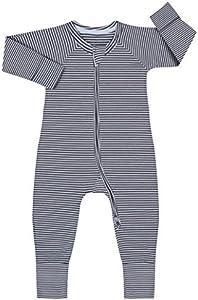 Dim 0A0I Pijama Largo para bebés y niños pequeños, Rayé Gris Foncé/Blanc, 6 Meses