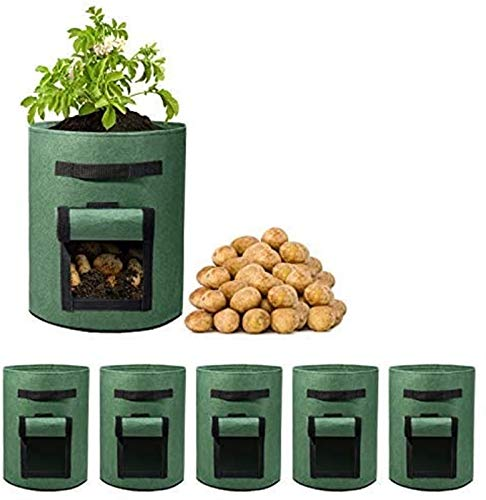 3 Pack 7 Gallon Potato Grow Bags Two SidesVelcro Window Vegetable Grow Bags, Double Layer Premium Breathable Nonwoven Cloth for Potato/Plant Container/Aeration Fabric Pots with Handles(Brown