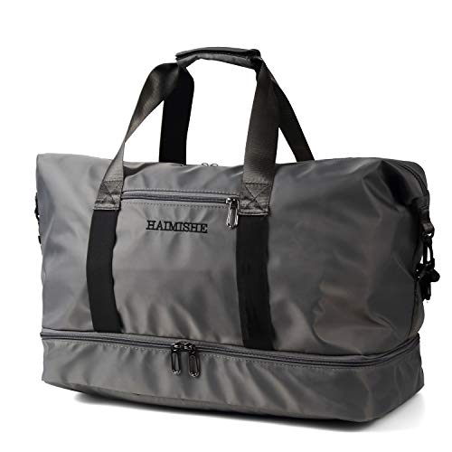 LUNDI 旅行バッグ ボストンバッグ スポーツバッグ ジム用バッグ キャリーオンバッグ トラベルバッグ 大容量 軽量 メンズ レディース (グレー)