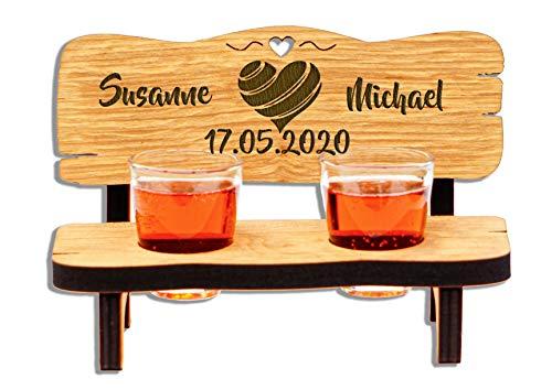 DARO Design - Schnapsbank mit Gravur aus Holz - Hochzeitsbank mit Schnapsgläsern zur Hochzeit mit 2 Zwei Gläsern