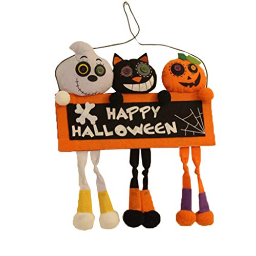 MILISTEN 1 Piezas Feliz Halloween Cartel de Bienvenida Etiqueta Colgante Calabaza Gato Fantasma Cartel Colgante de Pared Decoración de La Puerta para Decoración de Halloween