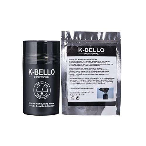 Hair Fibres Keratin Natural & Vegan K-BELLO - Hair Thickener Fibres Completely Conceals Hair Loss in 30 Seconds - 100% Undetectable Hair volume Powder for Men & Women (Refill 50g, Dark blonde)