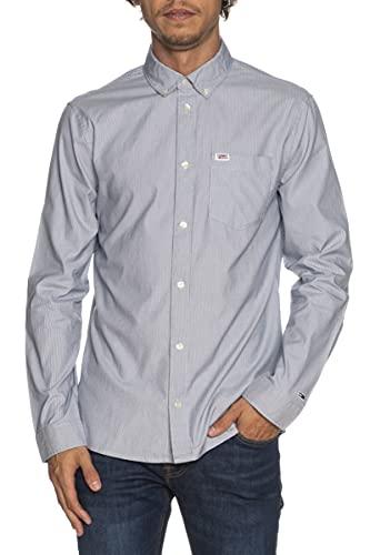 Tommy Jeans TJM Mini Stripe Shirt Camisa, Azul Marino Crepúsculo, XXL para Hombre