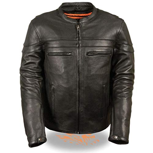 Milwaukee Leather SH1408 Men's Sporty Crossover Vented Black Leather Scooter Jacket with Gun Pocket - 5X-Large