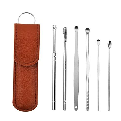 Innovador juego de herramientas limpiador Spring EarWax, 6 en 1, herramientas para recoger orejas, limpiador de curetas para orejas con bolsa de almacenamiento (marrón)