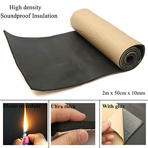 Schiuma per isolamento acustico e contro alte temperature del cofano, 200 cm x 50 cm x 10 mm, rifrangente e con supporto adesivo