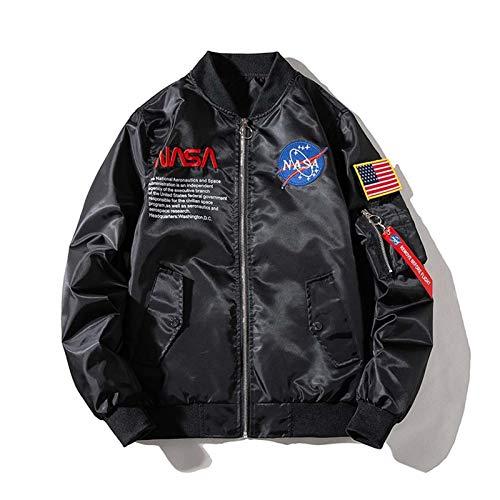 GLYIG NASA Hombres Vuelo Bomber Chaqueta Barball Suelto Acolchado Uniforme de béisbol Abrigo A Prueba de Viento Abraquera Cómoda Abrigo Deportivo al Aire Libre con Bolsillos con Cremallera
