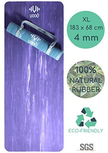 YOOQ Nouveau Tapis de Yoga 'PURE', Premium Quality, écologique et Anti-dérapant, en Caoutchouc Naturel (Violet marbré)