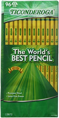 Dixon Ticonderoga Wood-Cased 2 HB Pencils, Box of 96, Yellow