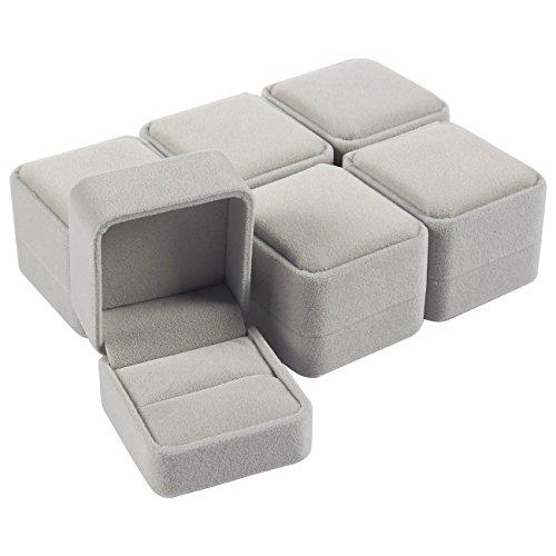 Juvale 6 Pack Conjunto Joyero - Joyeros - terciopelo caja de la joyería caja de regalo Set, sola caja del anillo de Casos - Para oferta, compromiso, boda, Presentación -, 2,5 x 1,7 x 2,2 pulgadas Gris