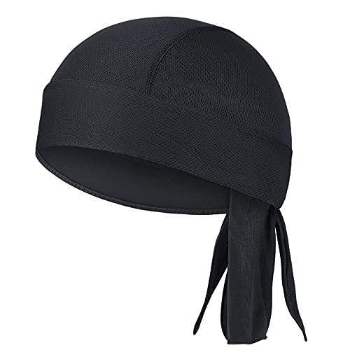 Outdoor Bandana Cap Sports Kopftuch Bike Kopfbedeckung Damen Sommer Bandana Herren Mütze Atmungsaktiv Nimmt Schweiß Turban Piratenhut Sonnencreme und Schnelltrocknend Helm Mütze (Schwarz)