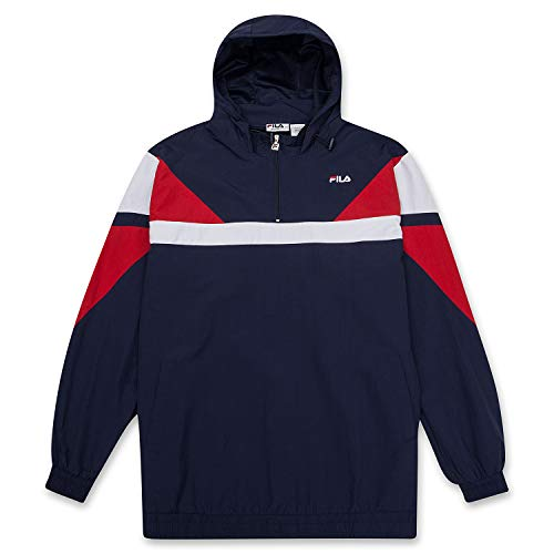 Fila Mens Big and Tall Pullover Hoodie Lightweight 1/4 Zip Anorak Windbreaker RED/WHT/NVY 3X