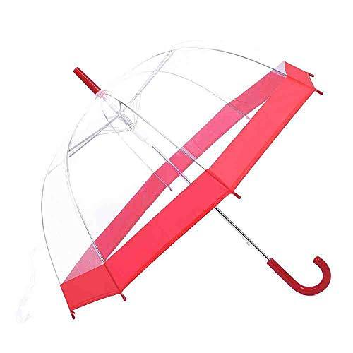 BJDKF paraplu transparante paraplu paddestoel dames parapluie bruiloft Apollo regen paraplu transparante koepel lange handvat Brolly, Rood