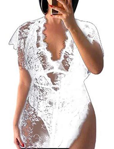 Vivilover Womens Lace Plus Size Swimsuit Coverup Beach Maxi Long Dress (C-White)