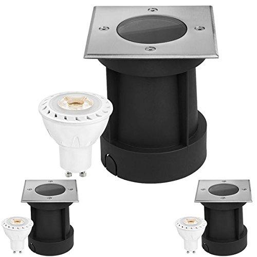 LEDANDO 3er LED Bodeneinbaustrahler Set mit LED GU10 Markenstrahler 7W - 530lm - warmweiß - eckig - IP65 - Blende Edelstahl 316 - belastbar 1t - 50W Ersatz - 30° Abstrahlwinkel
