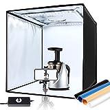 amzdeal 60cm Caja de Luz Fotografia Brillo Ajustable(10%-100%) Photo Studio Portátil Plegable,120 Leds, 12000LM, 3 Ventanas de Disparo, 4 Fondos (Azul, Blanco, Negro, Naranja)