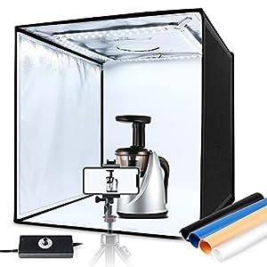 Caja de Luz 60x60x60cm, Iluminación Regulable 10%-100% LED 5000LM 5500K, Estudio Fotográfico Portátil Plegable, 3 Ventanas de Grabación, 4 Fondos (Azul, Blanco, Negro, Naranja), Cierre de Velcro