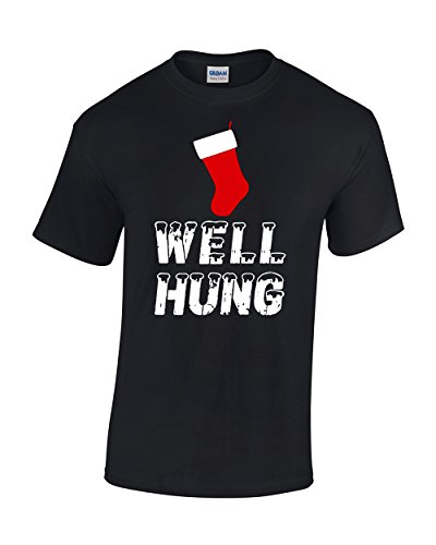 CBTWear Well Hung - Funny Inappropriate Christmas Office Party - Ugly Xmas Tee - Funny Stocking Men T-Shirts (Large, Black)