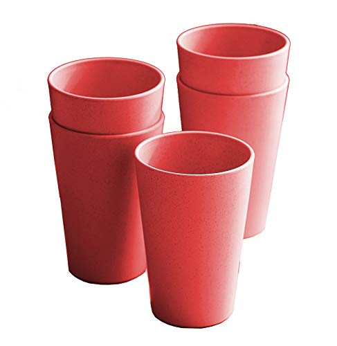 Lightweight & Unbreakable reusable cups, Microwave & Dishwasher Safe 16 oz cups, Eco-Friendly Wheat Straw drinking cups for Adult, Non-toxin, BPA free and Healthy for Kids set 5 cups (red)