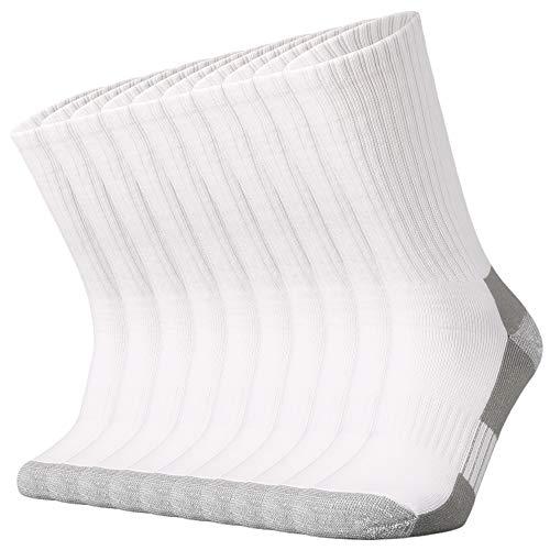 Sox Town Moisture Wicking Performance Steel Toe Work Boots Heavy Cushion Crew Socks Men 10 Pack(WhiteGrey L)