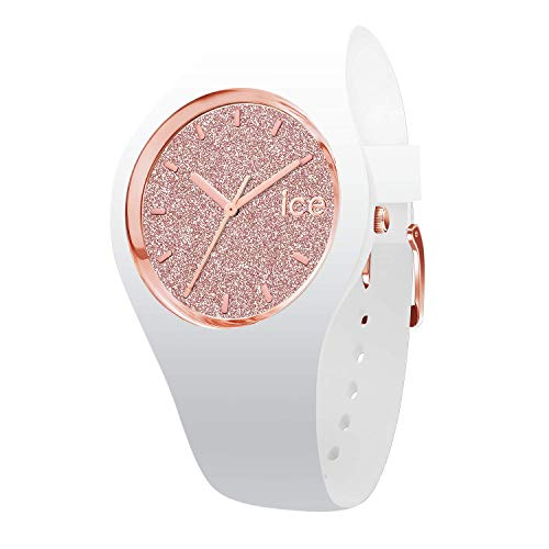 Ice-Watch - ICE glitter White Rose-Gold - Weiße Damenuhr mit Silikonarmband - 001343 (Small)