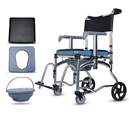Toilettenstühle aus Aluminiumlegierung auf Rädern, Stuhl auf Rädern mit Bettpfanne und Fußstützen, tragbarer Badstuhl, abnehmbare Teile zur Aufbewahrung,ältere Menschen,Wiederherstellung,Behinderte