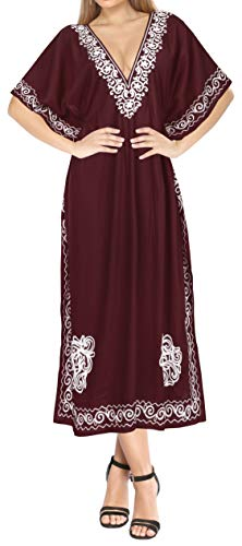 LA LEELA dames Rayon Kaftan tuniek geborduurd kimono vrije maat lange maxi party jurk voor loungewear vakantie nachtkleding strand elke dag jurken BG