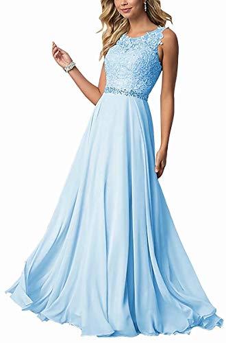 CLLA dress Damen Chiffon Spitze Abendkleider Elegant Brautkleid Lang Festkleid Ballkleider(Blau,38)