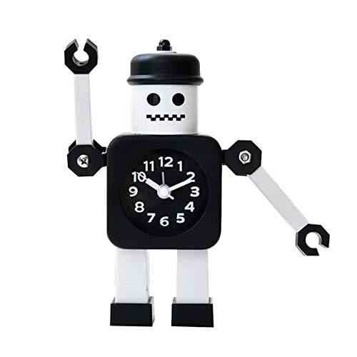 Creatividad Casa Despertador Cartero Robot Reloj De Tiempo Estilo Europeo Moda Dibujos Animados Regalo Adornos Brazo Movible Despertador para NiñOs,Black