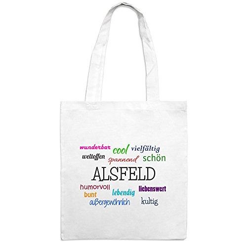 Jutebeutel mit Stadtnamen Alsfeld - Motiv Positive Eigenschaften - Farbe weiß – Stoffbeutel, Jutesack, Hipster, Beutel