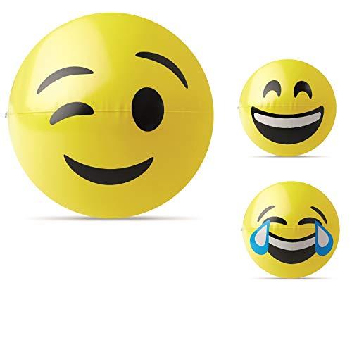 noTrash2003 3 Stück Aufblasbarer 24 cm Wasserball Spielball Strandball Beachball mit Flirtfaktor Anbaggerhilfe Emoji PHTHALATFREI (Mix)