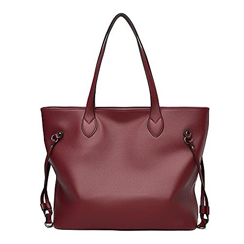 MIMITU Bolsos de cuero con asa superior para mujer, bolso de hombro para mujer, bolso de mano de diseñador de lujo, bolso para damas, burdeos, (30 cm * longitud máxima * 50 cm)