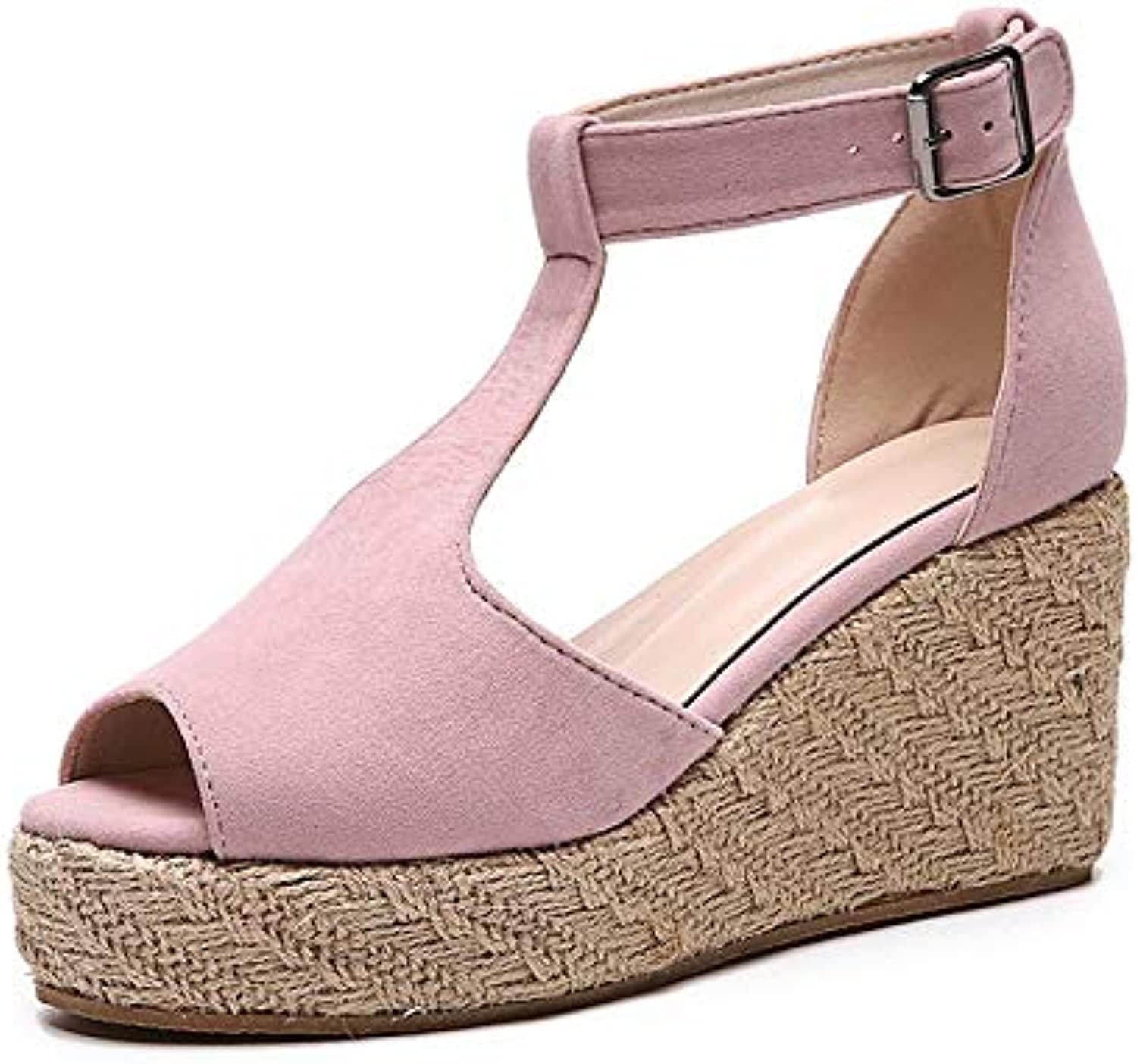 DNJKSA Thick-Soled Muffin shoes, Large-Sized Slope Heel Sandals, Female Summer 2019 Heel Waterproof Platform for Fishmouth shoes