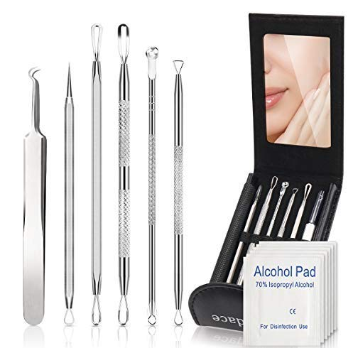Blackhead Remover Comedone Extractor,Bedace Pimple Popper Tool Kit,6 PCS Stainless Tweezers Kit With...
