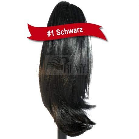 RemyHaar.eu - Pferdeschwanz Haarteil Zopf Glatt Ponytail Extensions - Spange ODER Band - Günstige Haarverlängerung - 30cm 12