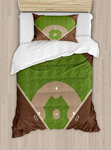 Lunarable Boy's Room Duvet Cover Set Twin Size, American Baseball Field with White Markings Painted on Grass Print, Decorative 2 Piece Bedding Set with 1 Pillow Sham, Lime Green Chocolate Tan