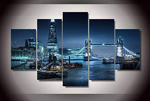 CGHBDOP Quadro su Tela Decorazioni per La Casa Quadro Moderno 5 Pannelli Stampa su Tela Immagini Artistica della Parete Poster 150Cmx80Cm London City River Shard
