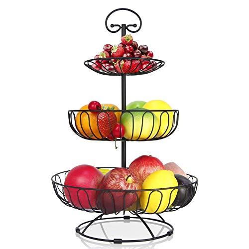 karadrova Portafrutta a Piani Fruttiera 3 Piani Nero Metallo Porta Frutta Moderni Cesto Frutta Grande Alzata Portafrutta 30 x 46 cm