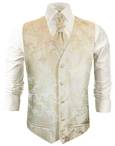 Paul Malone Hochzeitsmode Hochzeitswesten Set 5tlg Creme Paisley + Casa Moda Hochzeitshemd Champagner