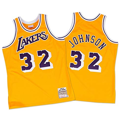 FMSports Camisetas De Baloncesto Retro para Hombres - NBA Lakers # 32 Earvin Johnson Uniforme De Baloncesto Tela Transpirable Fresca Camiseta Clásica De Chaleco,M~170cm/65~75kg