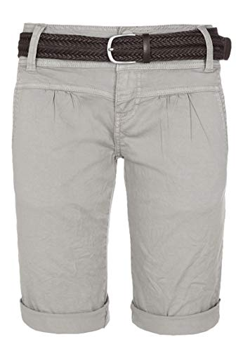 Fresh Made Damen Bermuda-Shorts im Chino Style mit Gürtel Light-Grey M